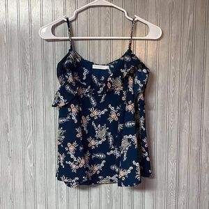 Lush Blue and Pink Flower Paisley Flowy Tank Top